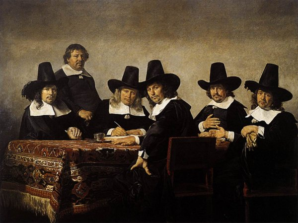 De regenten van het weeshuis in Haarlem