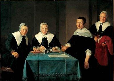 """De regentessen van het """"Leproos-, Pest- en Dolhuis"""" in Haarlem."""